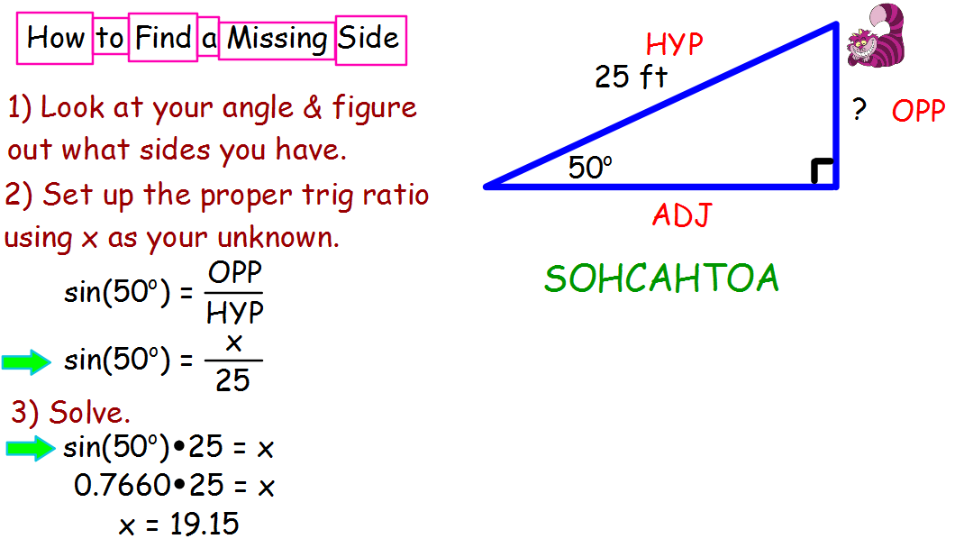 How To Use SOHCAHTOA Find A Missing Side In Right Triangle
