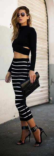 Striped fashion lady
