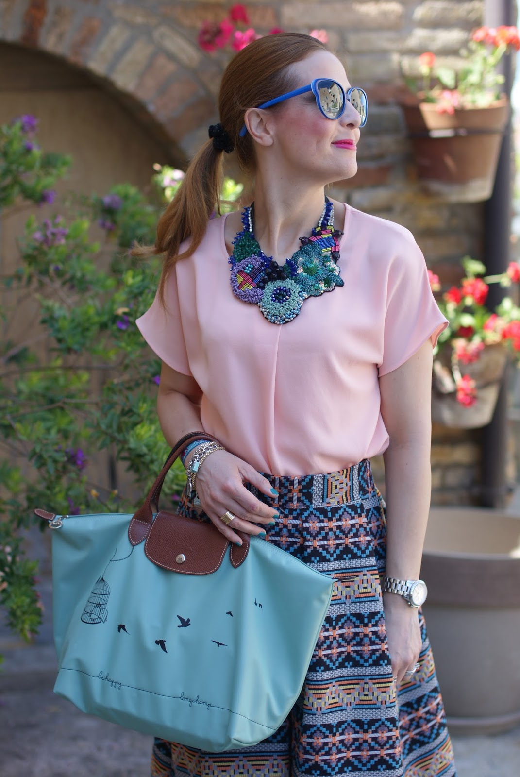 Le Pliage 2015, Longchamp Le Pliage cage aux oiseaux bag, jacquard midi skirt, simonab bijoux necklace, Fashion and Cookies fashion blog