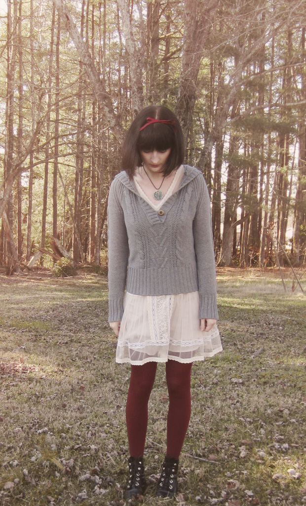 Sweater over lace dress