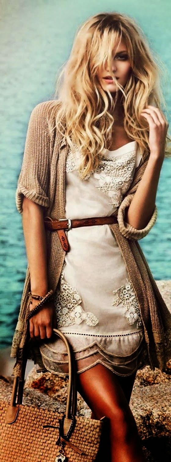 Boho Oversized Cardigan With White Belted Lace Dress