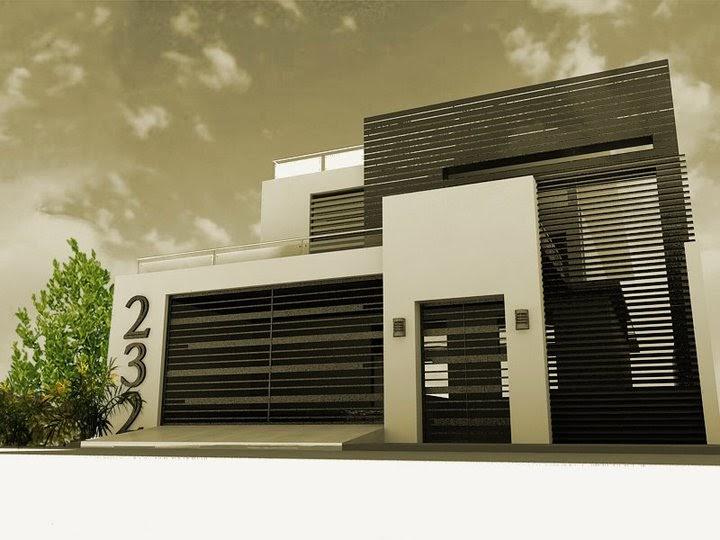 Decoraci n minimalista y contempor nea fachadas y for Casa minimalista roja