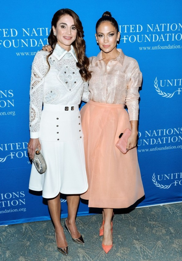 Queen Rania of Jordan In Peter Pilotto And Jennifer Lopez In Christian Siriano At The UN Foundation's Gender Equality Discussion