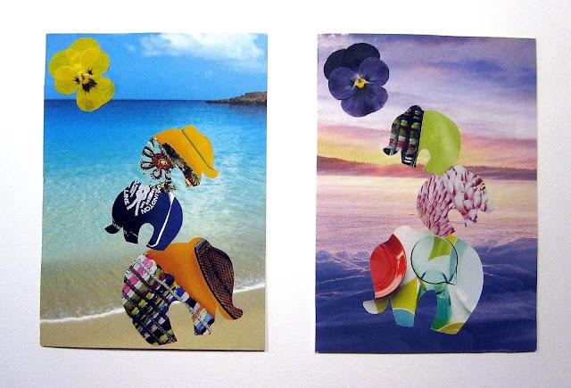 handmade elephant postcard