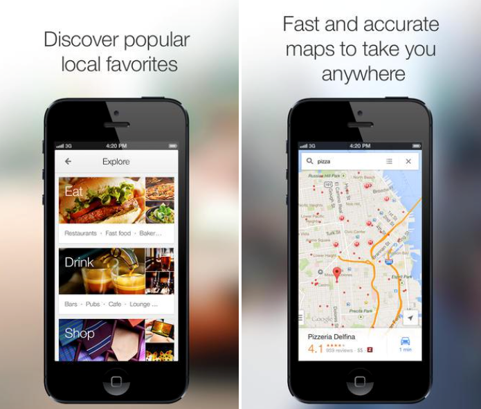 "Two smartphones parallel to each other with text above each one stating, respectively, ""Discover popular local favorites"" and ""Fast and accurate maps to take you anywhere."""