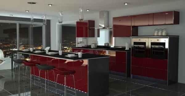 dapur modern dengan warna merah desain rumah minimalis