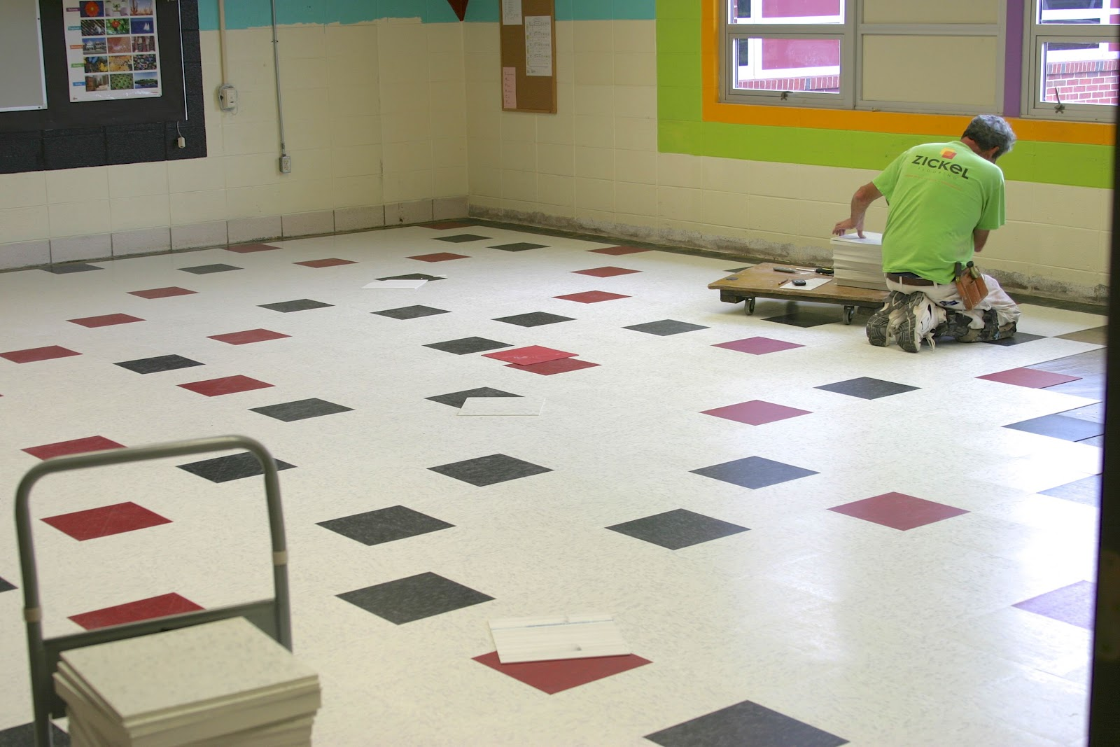 School tile flooring
