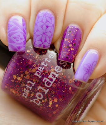 Nail Pattern Boldness Hello Sweetie with purple stamping