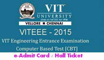 VITEEE 2015 Admit Card - Hall Ticket
