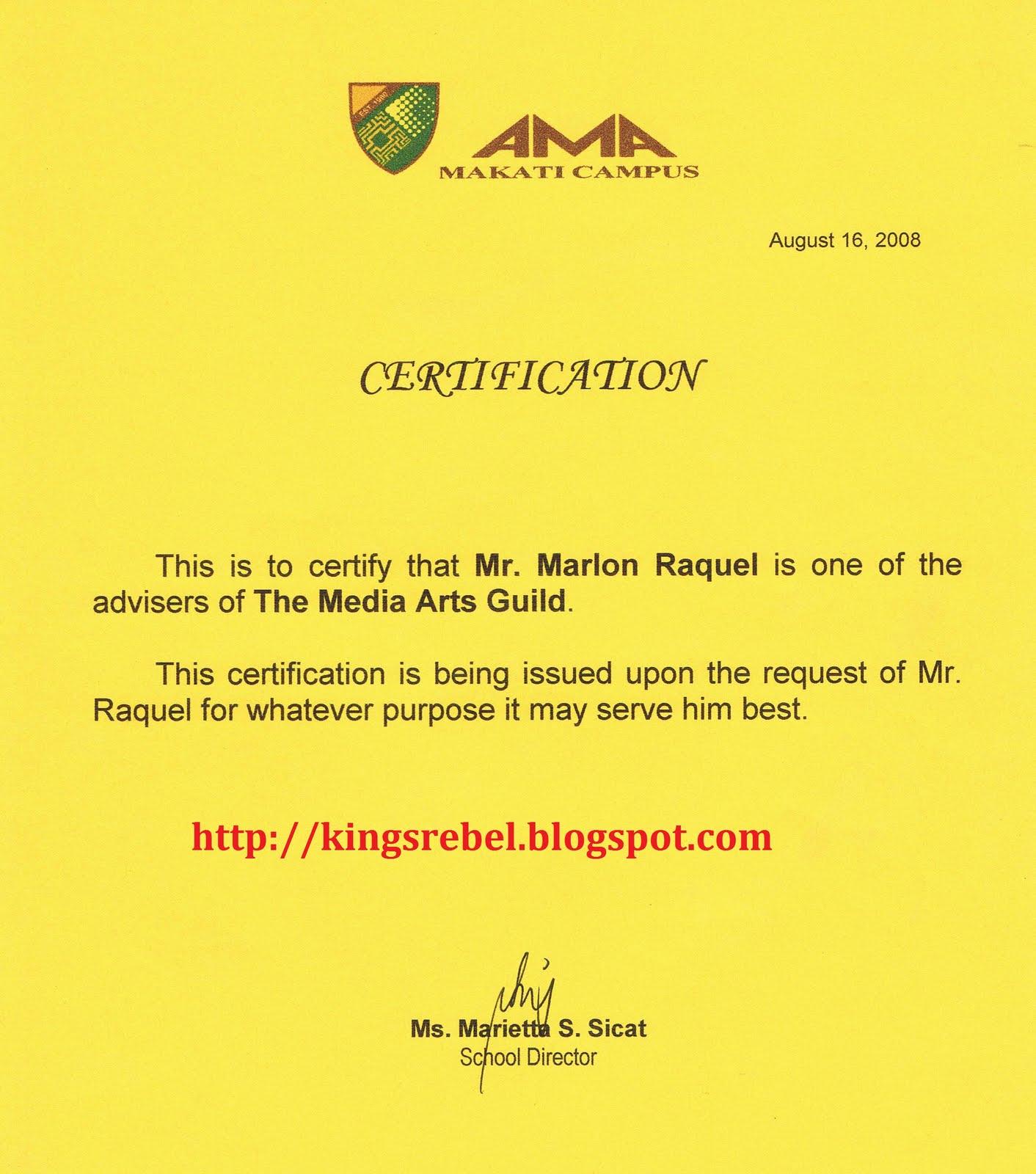 Tidbits And Bytes Example Of Certification For Advisorship Amamc