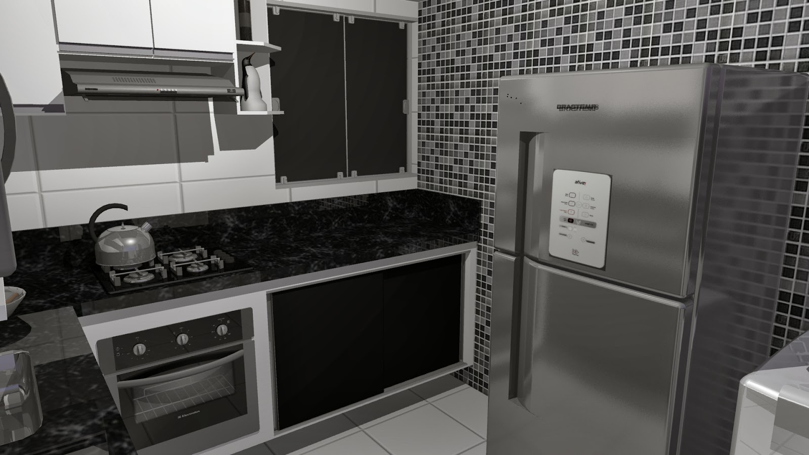 #2C2B29  Campi Designer de interiores: Projeto Cozinha tipo Americana 1600x900 px Projeto De Armario Embutido Para Cozinha #2741 imagens