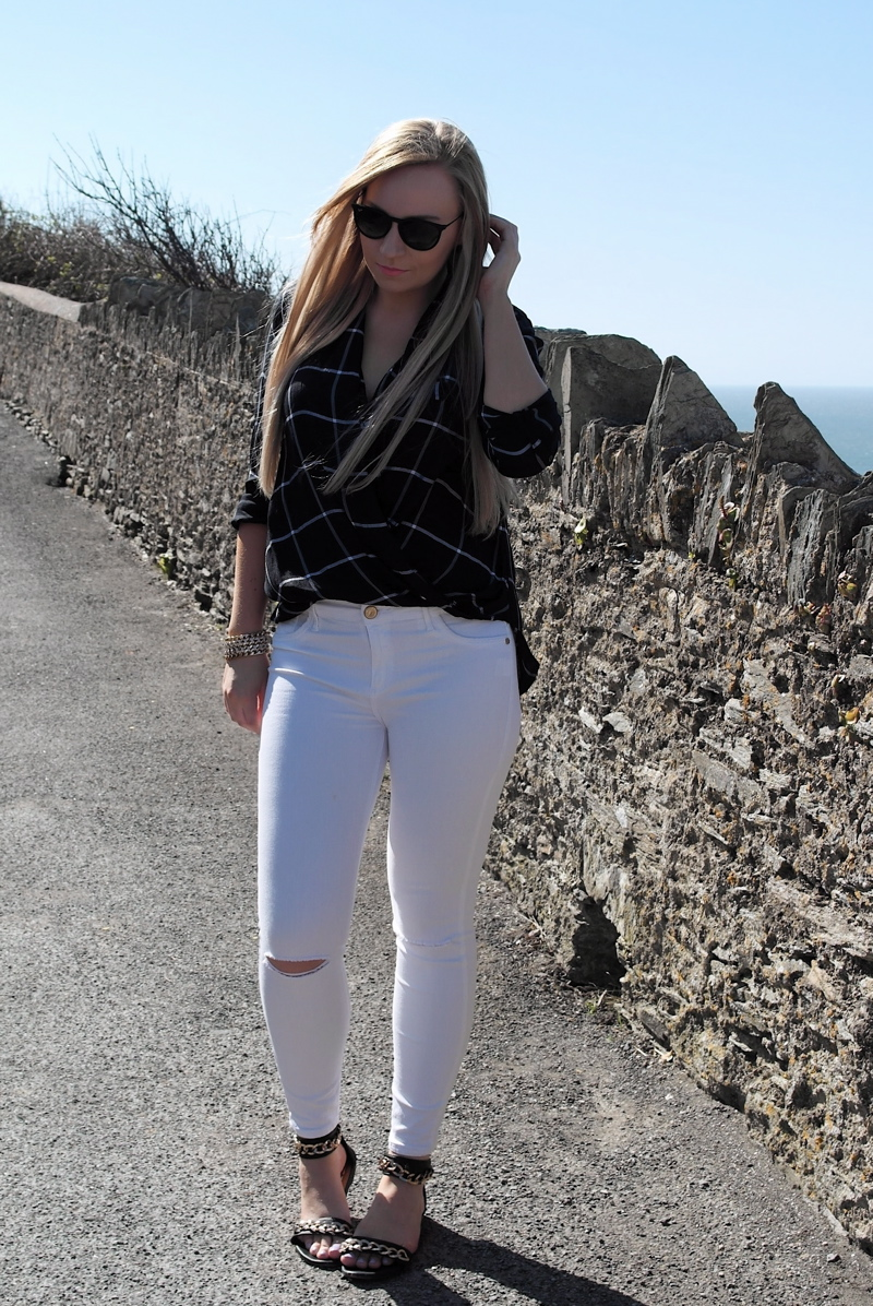 River Island white jeans