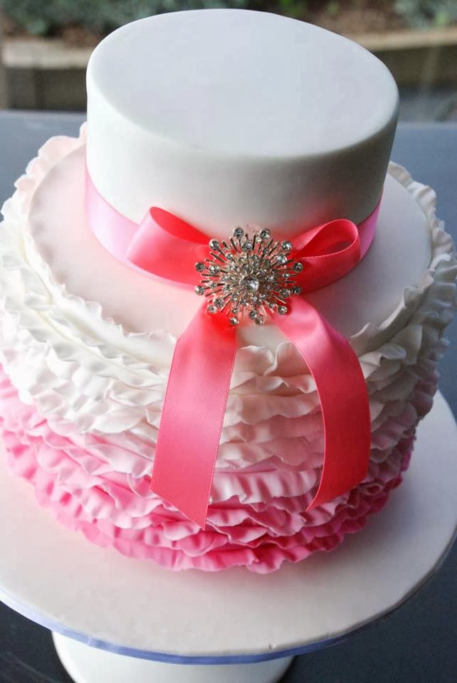 pink ruffle ombre bling cake