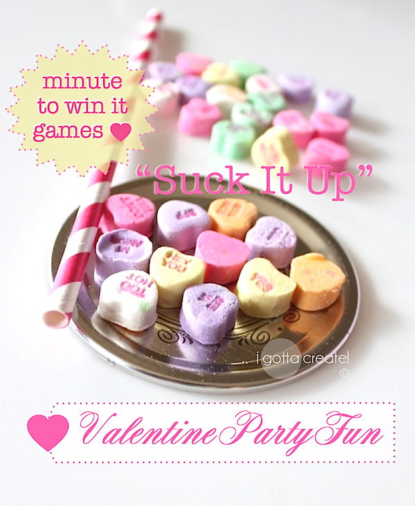Use #Conversation Hearts to adapt this Minute to Win It game for #Valentine parties! | see more at http://igottacreate.blogspot.com