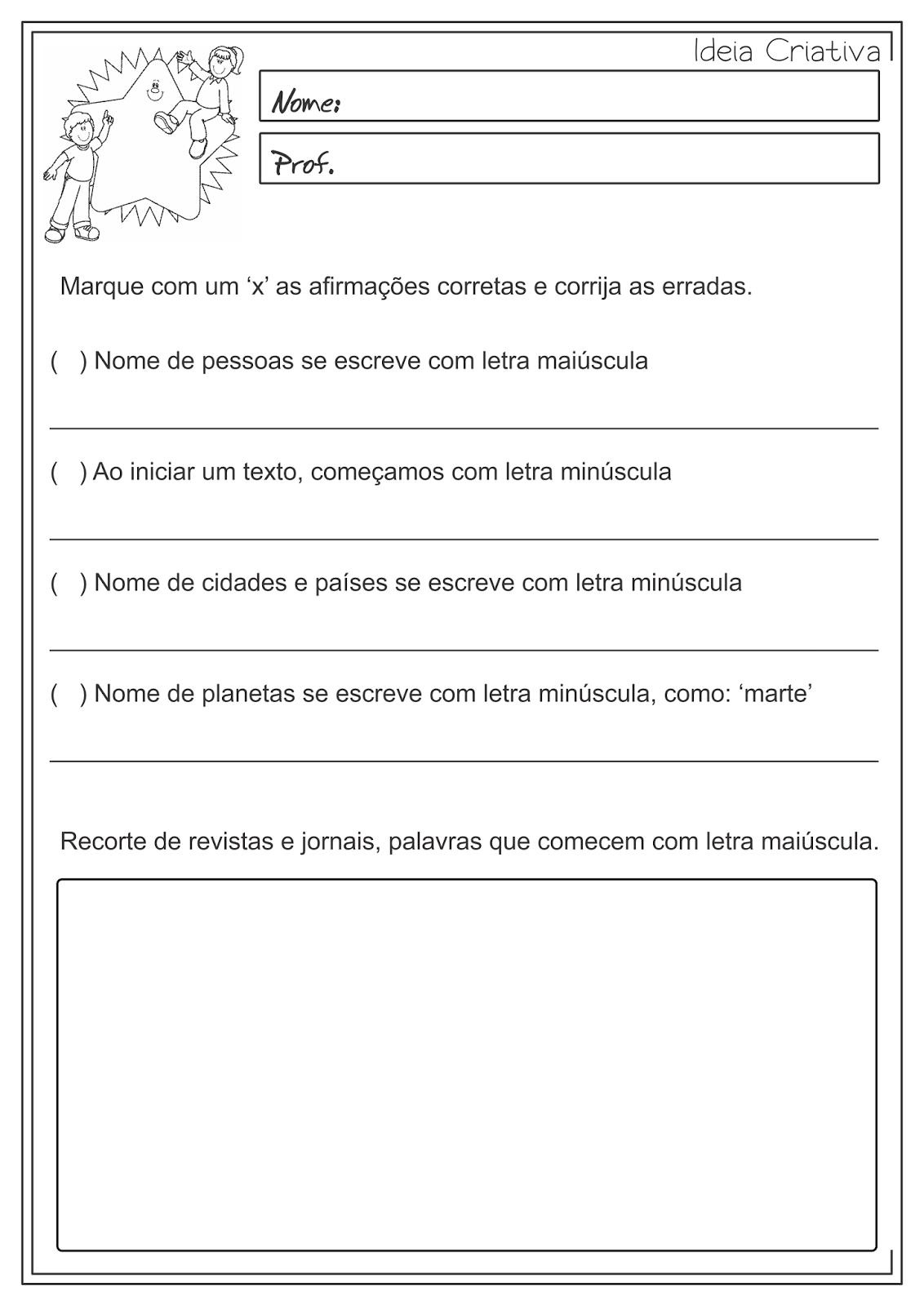 Atividades Educativas Nomes comuns e próprios Uso de Letra Maiúscula e Minúscula Língua Portuguesa 3° ano fundamental