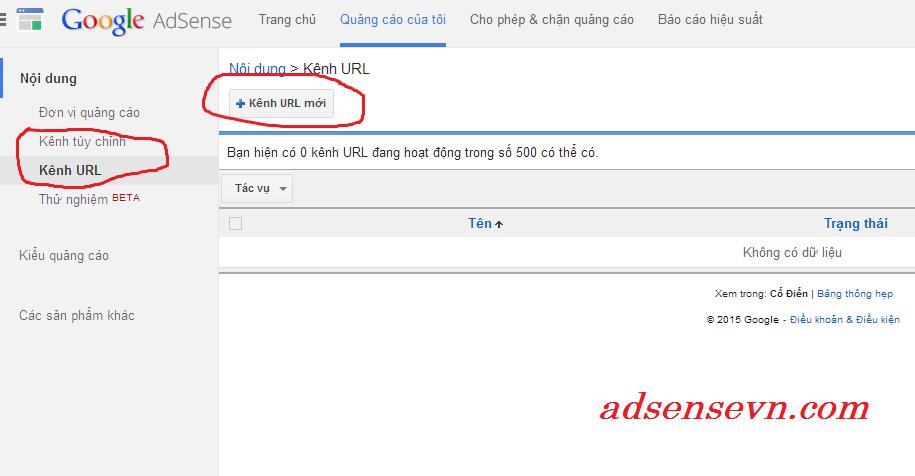 Hướng dẫn sử dụng các kênh (Channel) trong google adsense