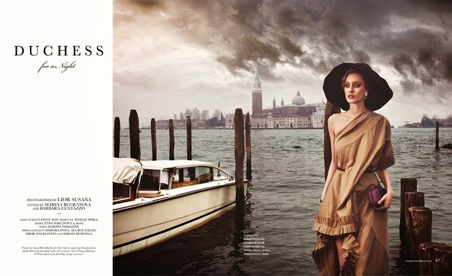 Bottega Veneta 2014 SS Editorial: Khaki One-Shoulder Pleated Dress