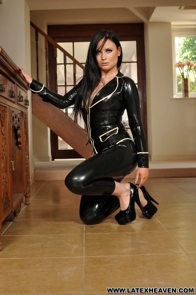 Sexy Charlotte Jacques in Tight Black Latex Jacket and Leggings
