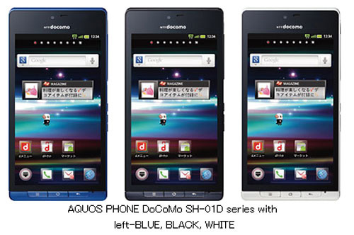 Sharp SH-01D Aquos, Waterproof Android Phone, with Resolution Screen 4.5 Inch HD &  Without 3D Glasses