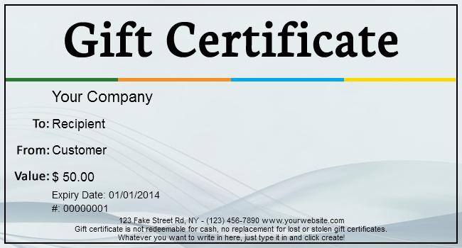 fake gift certificate