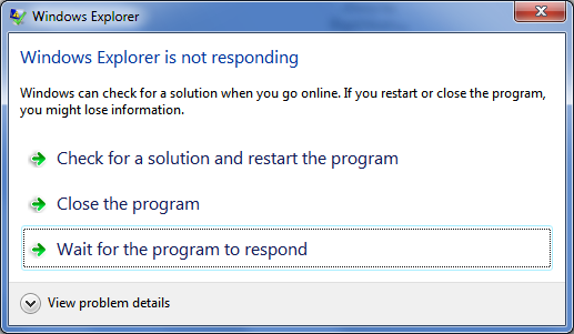 Program Not Responding