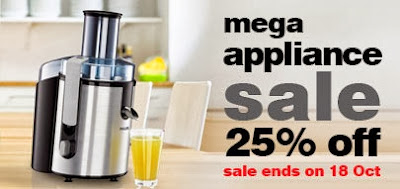 Pepperfry's Mega Appliances Sale: Flat 25% additional off on Home & Kitchen Appliances (Valid till 18th Oct'13)