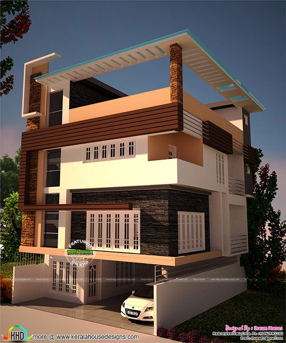 3 storied house plan in contemporary style