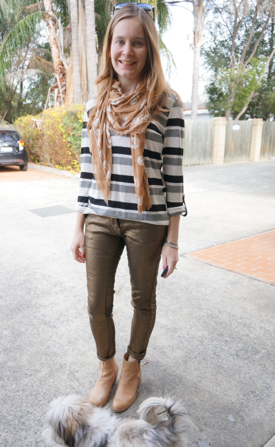 metallic gold skinny jeans acne pistol boots striped top skull scarf