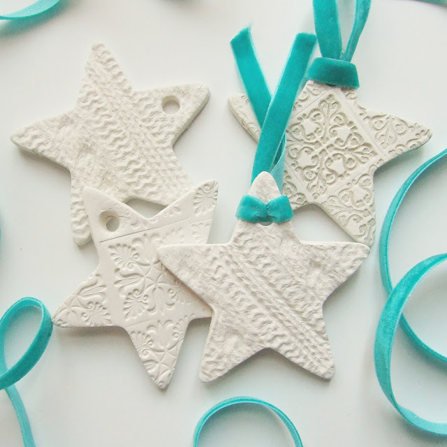embossed clay star decorations made from air hardening clay