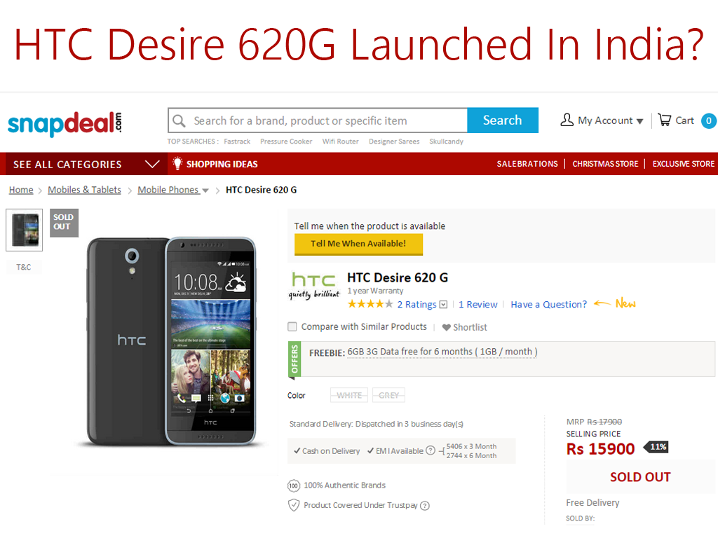 HTC Desire 620G Now Available In India. Priced At Rs. 15423 ($247)