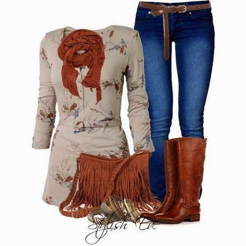 Adorable brown scarf, blouse, jeans, amazing handbag and brown long shoes for fall
