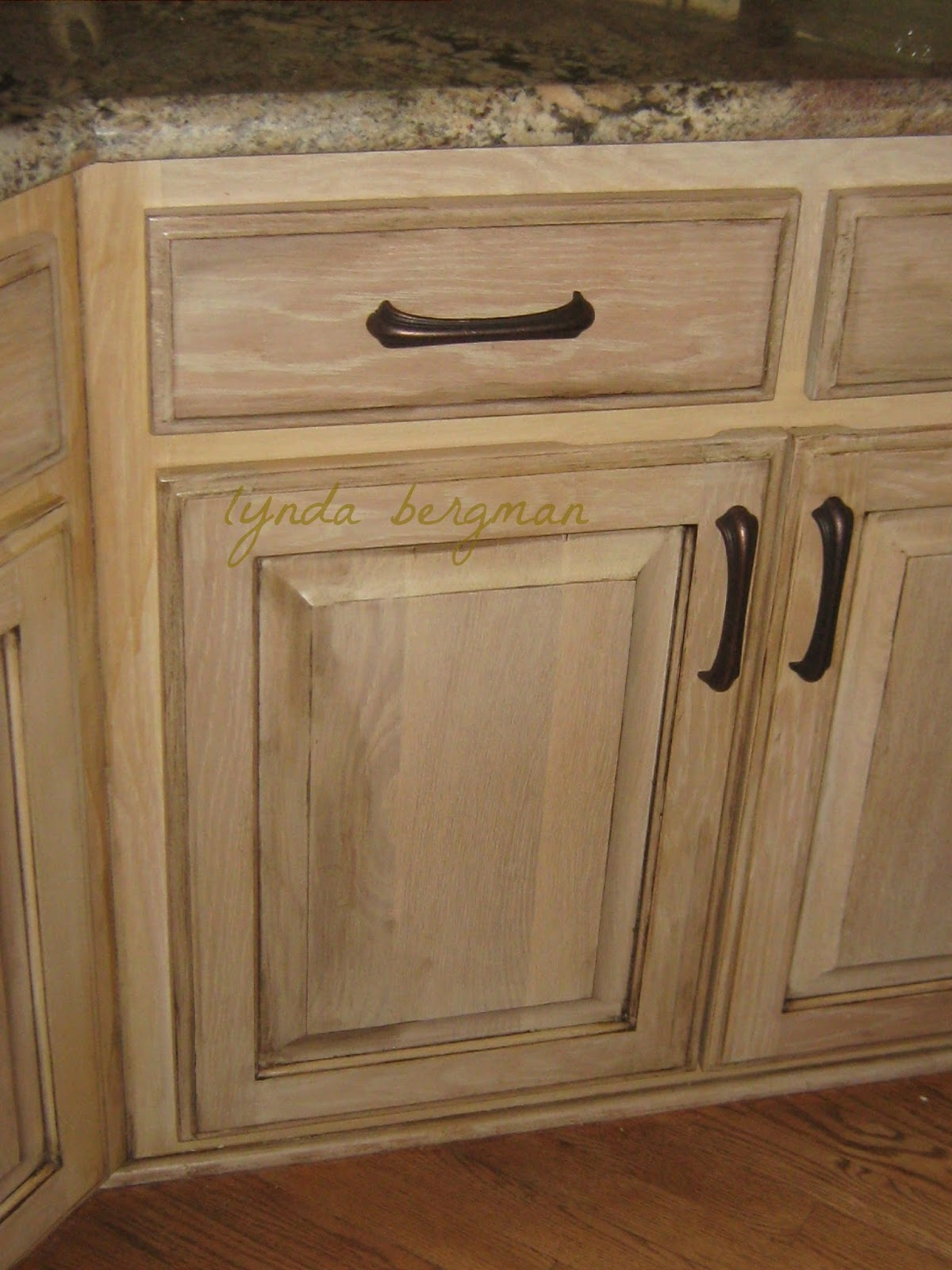 Lynda bergman decorative artisan distressing aging for White pickled kitchen cabinets