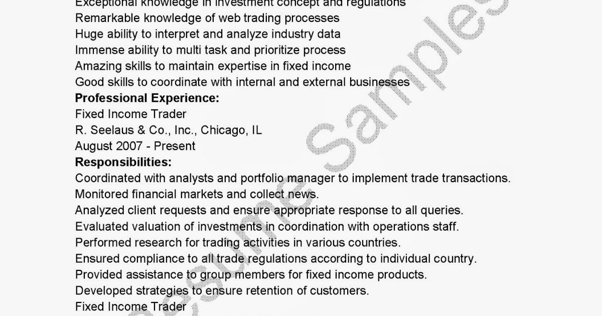 resume sles fixed income trader resume sle