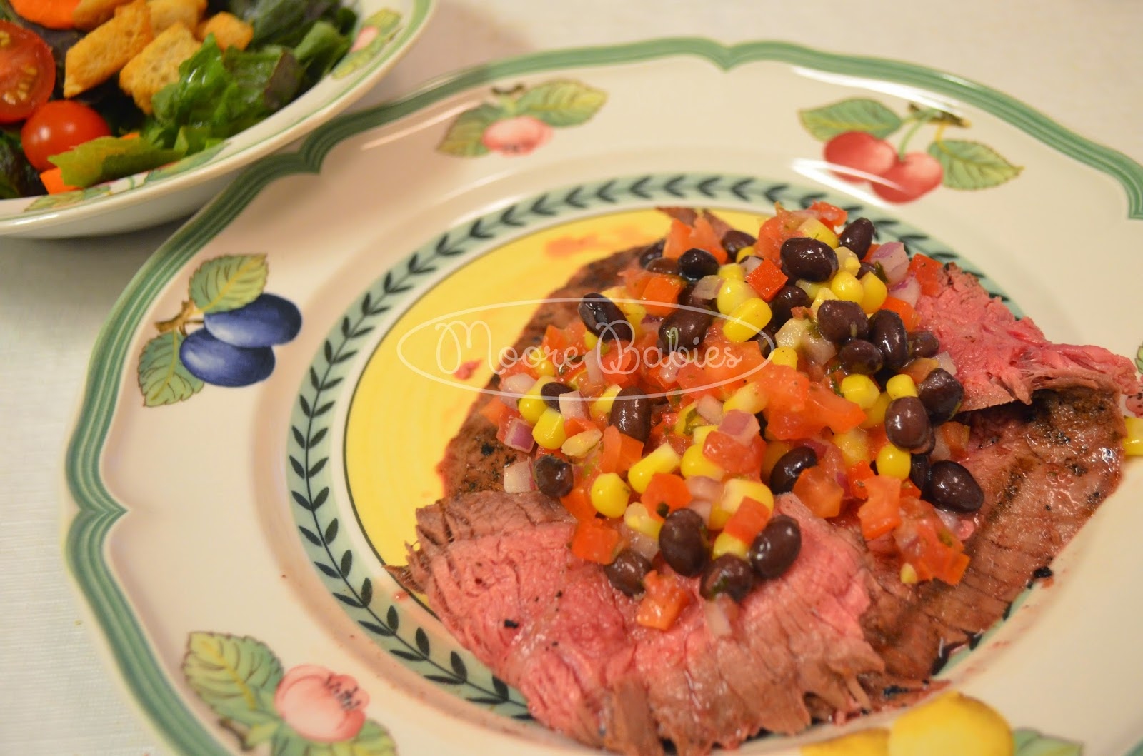 Grilled Flank Steak with black beans, corn, and tomatoes