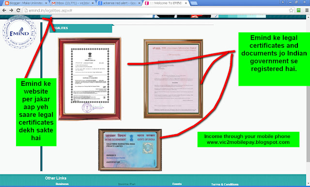 Emind ke saare Indian government registered certificates and documents-see screenshot