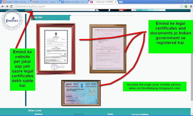 Emind ke saare Indian government registered certificates and documents-see screenshot