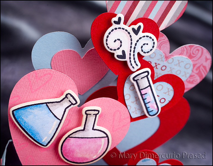 Awash with Color SVG Cuts Valentines Day Chemistry Box Card