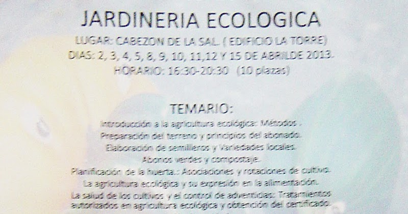 Tabl n de anuncios de cabez n de la sal curso de for Jardineria ecologica