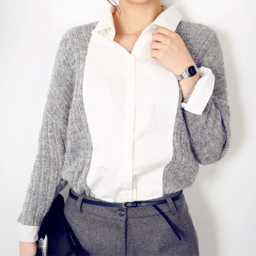 Knit Sleeved Button Down Shirt by Chuu