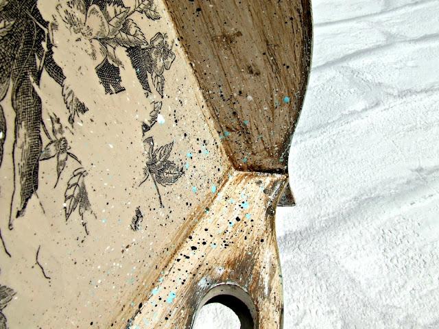 taca decoupage ptaki - taca vintage przecierana i postarzana Eco Manufaktura