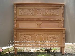 Natural unfinished wooden mahogany sajonia salina bed