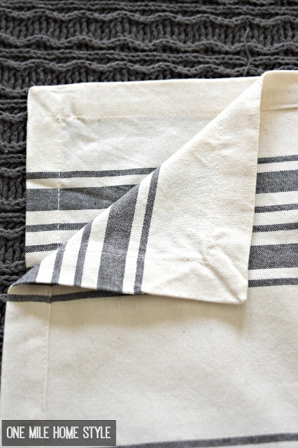 How to DIY Grain Sack Pillows From Cloth Napkins - One Mile Home Style