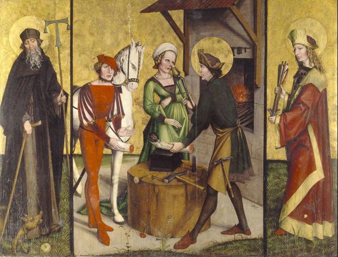 San Eloy, obispo y confesor (588-660) Hans_Leu_Eligius.%2BSan%2Bantonio%2Bermita%25C3%25B1o%2Biz%2By%2Bsan%2Bsebastian%2Bderecha
