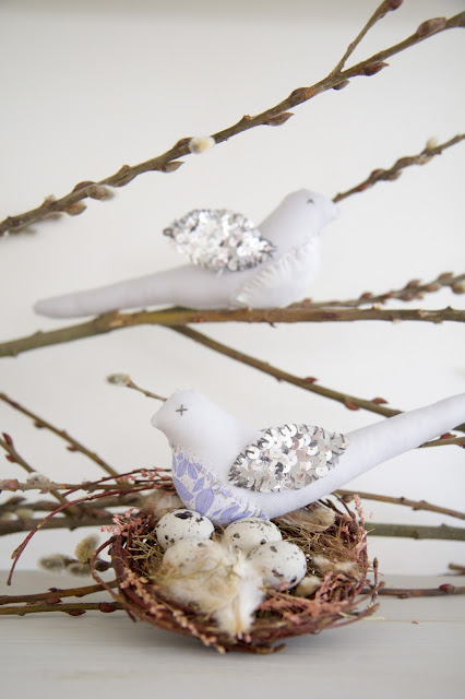 Handmade birds, gray linen and silver sequins; Nursery in the Nest; Nora's Nest
