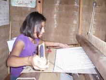 Liliana Mendoza Rios Weaving a Rug.