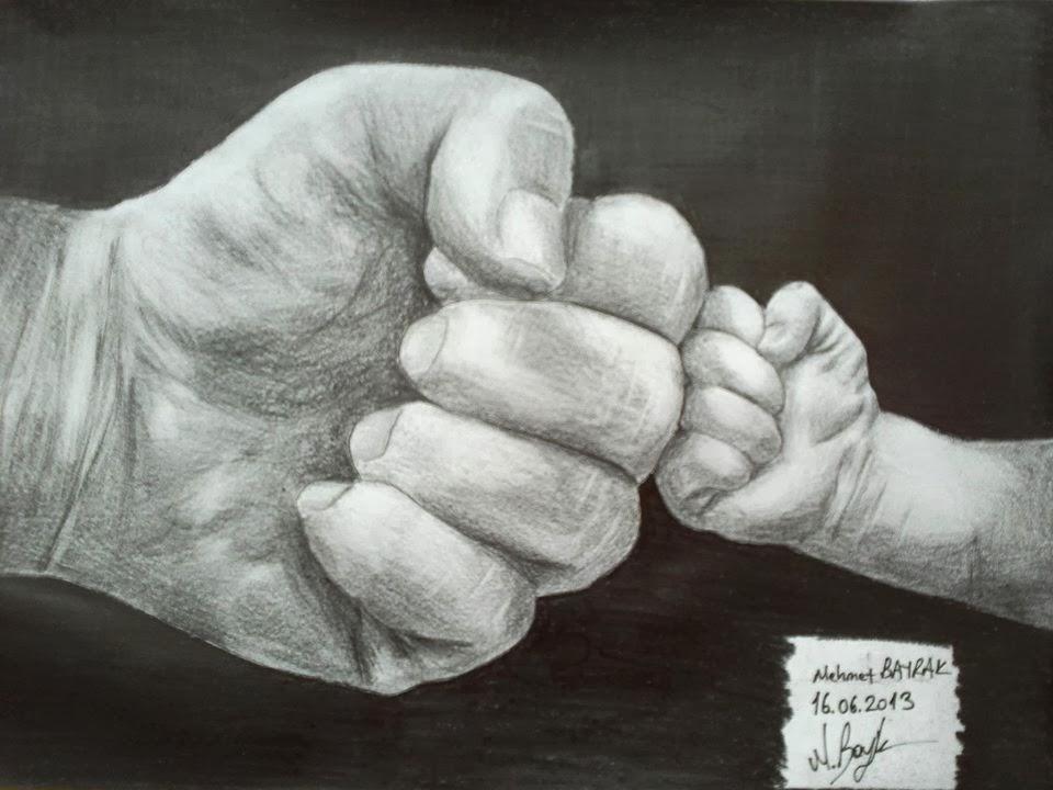 Karakalem El çizimi Baba Oğul Karakalem çizimkarakalem