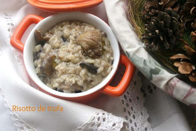 risotto de trufa, risotto de setas, risotto, aceite de trufa