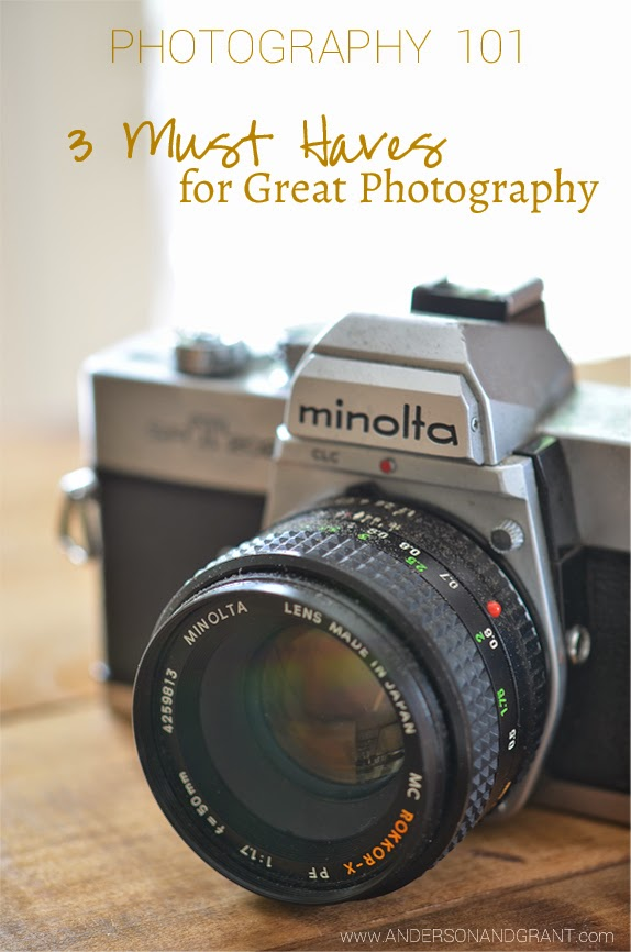Photography 101....3 Must Haves for Great Photography | www.andersonandgrant.com