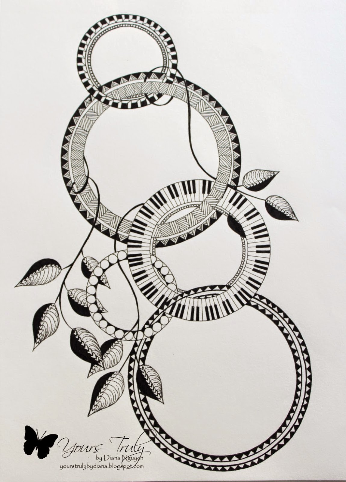 Diana Nguyen, zentangle, Compass
