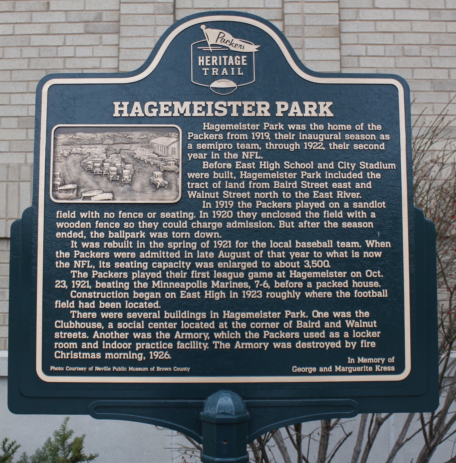 Wisconsin historical markers packer heritage trail marker for Hagemeister park